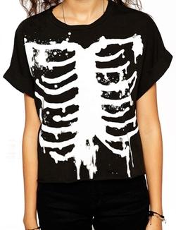 Romwe - Skeleton Print Batwing Loose T-Shirt