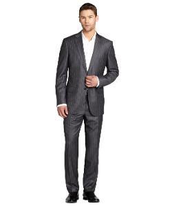 Ermenegildo Zegna  - Striped Wool 2-Button Suit with Flat Front Pants