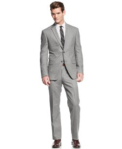 DKNY  - Light Grey Donegal Extra-Slim-Fit Suit