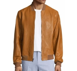 Michael Kors - Zip-Up Leather Bomber Jacket