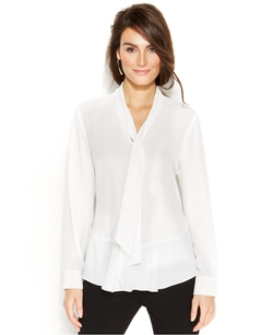 Vince Camuto - Ruffled Tie-Neck Blouse