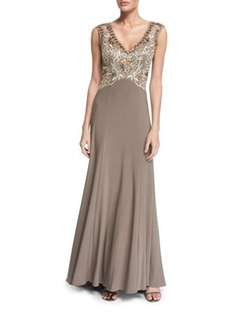 Sue Wong - Sleeveless Embellished-Bodice Gown