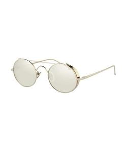 Linda Farrow  - Round Brow-Bar Sunglasses