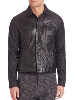 John Varvatos Star USA  - Mixed-Media Leather Jacket
