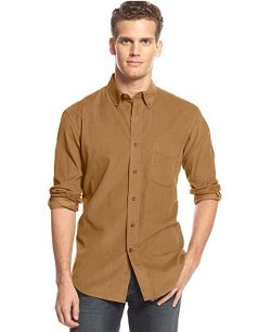 Club Room  - Solid Long-Sleeve Corduroy Shirt