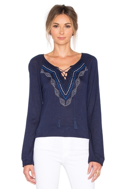 Sanctuary - Lace Up Boho Top