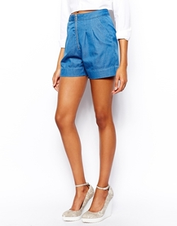 Warehouse  - Denim Zip Front Shorts