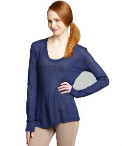 inhabit - Blueberry Linen Blend Scoop Neck Sweater