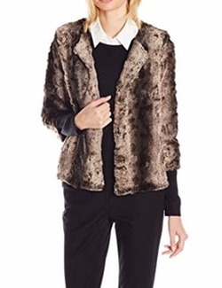 NY Collection - Open Front Faux Fur Jacket