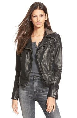 Free People  - Hooded Faux Leather Moto Jacket