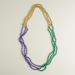 World Market - Green, Gold And Purple Mardi Gras Beads Necklace
