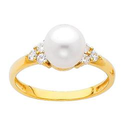 TWJC Fashion Ring Collection - Pearl Center with CZ Wedding Engagement Ring Band