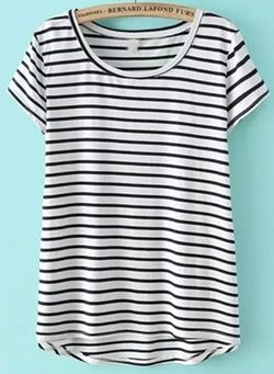 Romwe - Striped Dip Hem T-Shirt