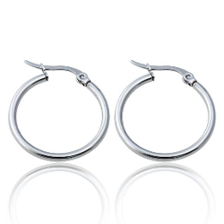 FR - Stainless Steel Hoop Huggie Earrings