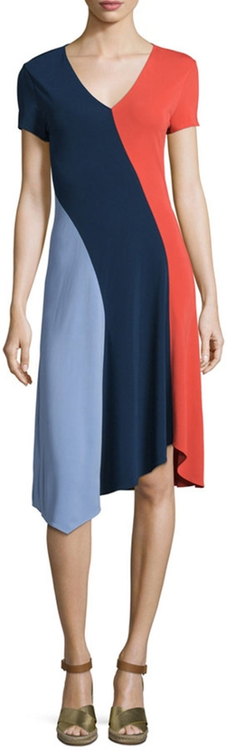 Tory Burch - Walden Asymmetric Colorblock Dress