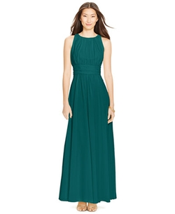 Lauren Ralph Lauren  - Sleeveless Ruched Gown