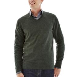 Claiborne - Solid Cotton-Cashmere V-Neck Sweater