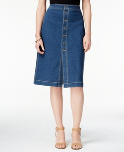 Style & Co. - Button-Front Denim Skirt