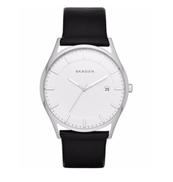 Skagen - Slim Holst Leather Strap Watch