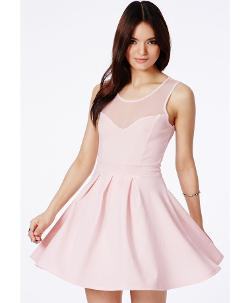 MissGuideUs - Colette Pink Skater Dress With Mesh Neck Detail