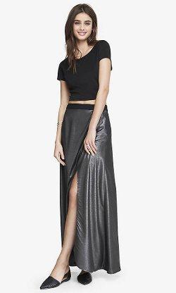 Express - High Waist Metallic Maxi Skirt
