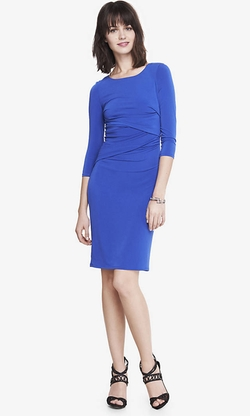Express - Ruched Long Sleeve Dress