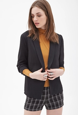 Forever 21 - Texture Ruched-Sleeve Blazer