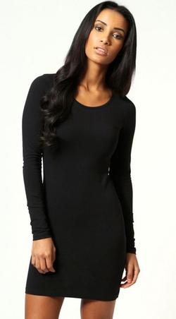Boohoo Basics - Camille Long Sleeve Jersey Bodycon Dress