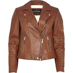 River Island - Brown Leather Biker Jacket
