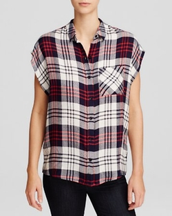 Wayf - Sleeveless Plaid Shirt
