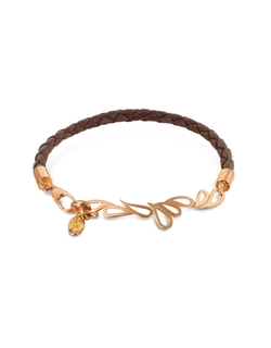 Sho London - Friendship Leather and Rose Gold Bangle Bracelet