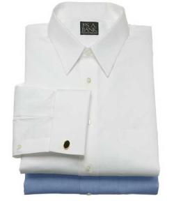 Jos. A. Bank - Traveler Pinpoint Solid Point Collar, French Cuff Dress Shirt