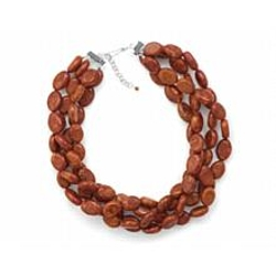 Generous Gems - Oval Sponge Coral Bead Necklace