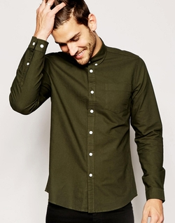 Asos  - Oxford Shirt In Khaki