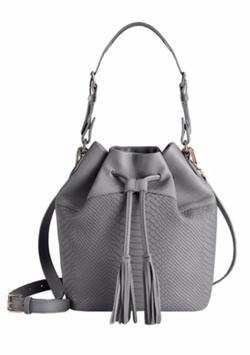 GiGi New York  - Jenn Python-Embossed Leather Bucket Bag