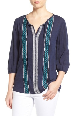 Caslon - Embroidered Split Neck Peasant Blouse