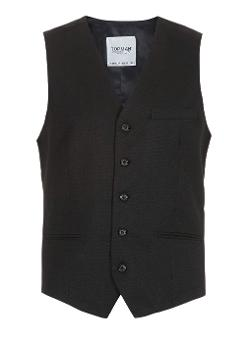 Topman - Black Dobby Suit Vest