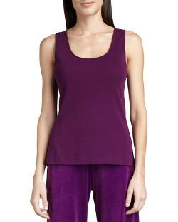 Joan Vass   - Sleeveless Cotton Scoop-Neck Tank