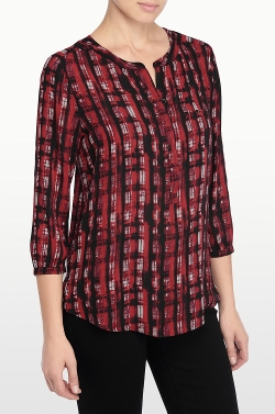 NYDJ - Punk Plaid Print 3/4 Sleeve Blouse
