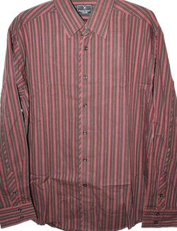 Cut & Sew Company - Marc Ecko Brown & Red Vertical Stripe LS Shirt