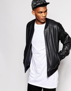 Asos - Bomber Jacket With Reptile Print In Faux