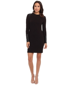 Nicole Miller - Knit W/ Leather Inserts Dress