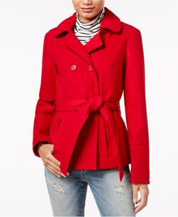 Celebrity Pink - Double-Breasted Hooded Peacoat