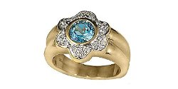 Silverandgoldgallery.com - 14K Gold Ring Blue Topaz And Diamond