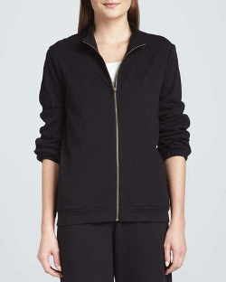 Joan Vass - Interlock Stretch Zip-Front Jacket