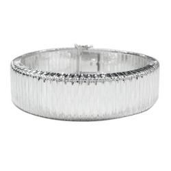 Helzberg Diamonds  - Diamond Cut Soft Bangle In Sterling Silver