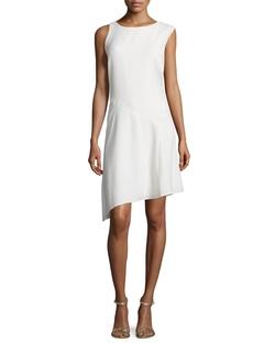 Halston Heritage - Round-Neck Angled-Hem Dress