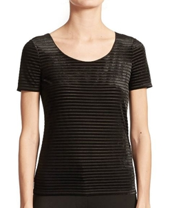 Armani Collezioni - Striped Velvet Tee Shirt