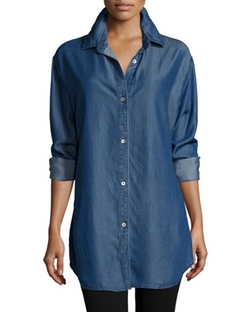 Go Silk - Button-Front Denim Shirt