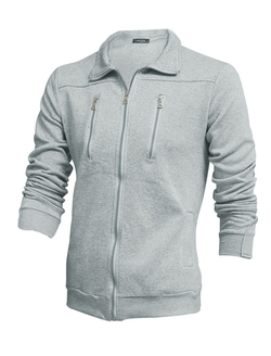 Uxcell - Turndown Collar Zip-Up Jacket